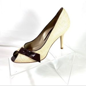 Via Spiga Pumps Peep Toe Tan Brown Size 8 M